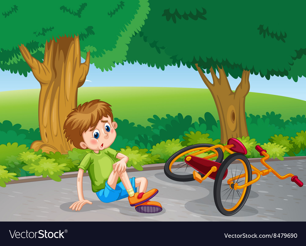 Boy falling down from bike in the park vector