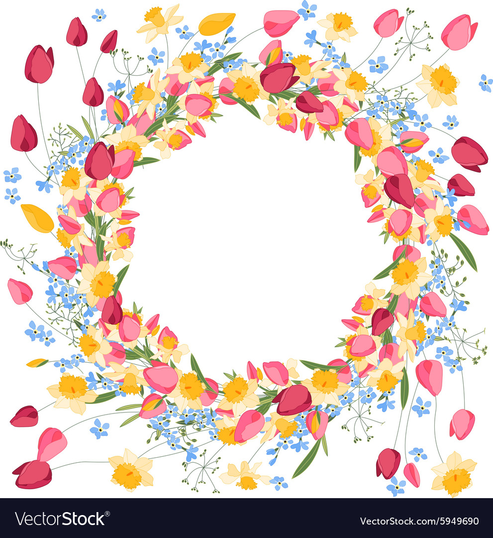 Detailed contour wreath withtulips and daffodils vector