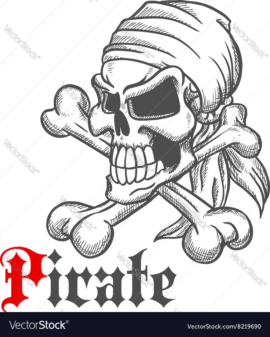 Pirate skull sketch with crossbones vector