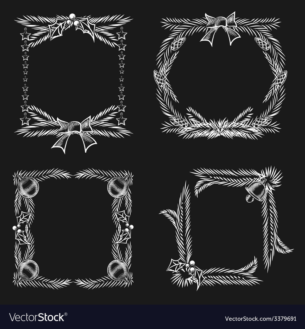 Chalkboard christmas ornament frames vector