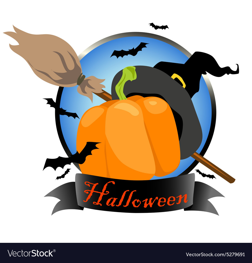 Halloween logo design with witch hat pumpkin and vector