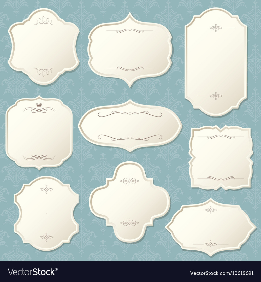 Vintage frame set on damask background vector