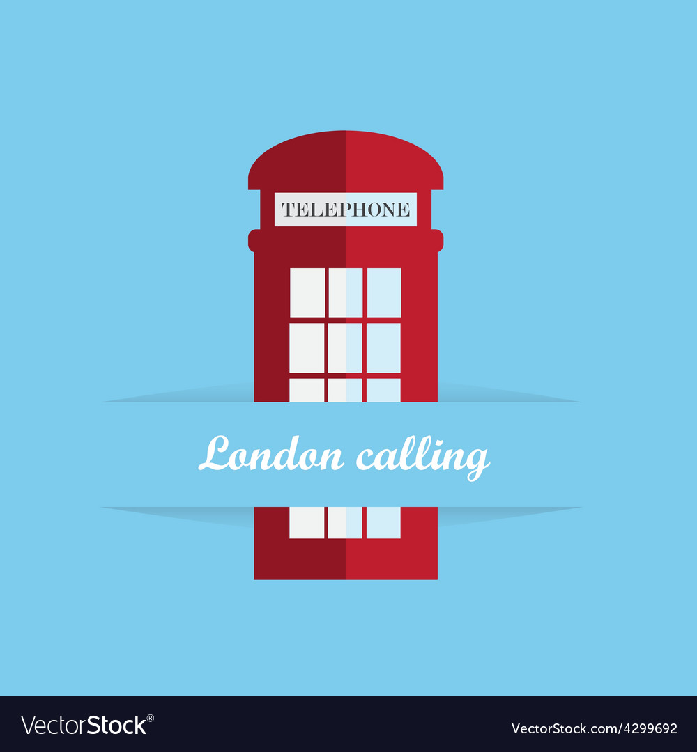Red britain telephone box vector
