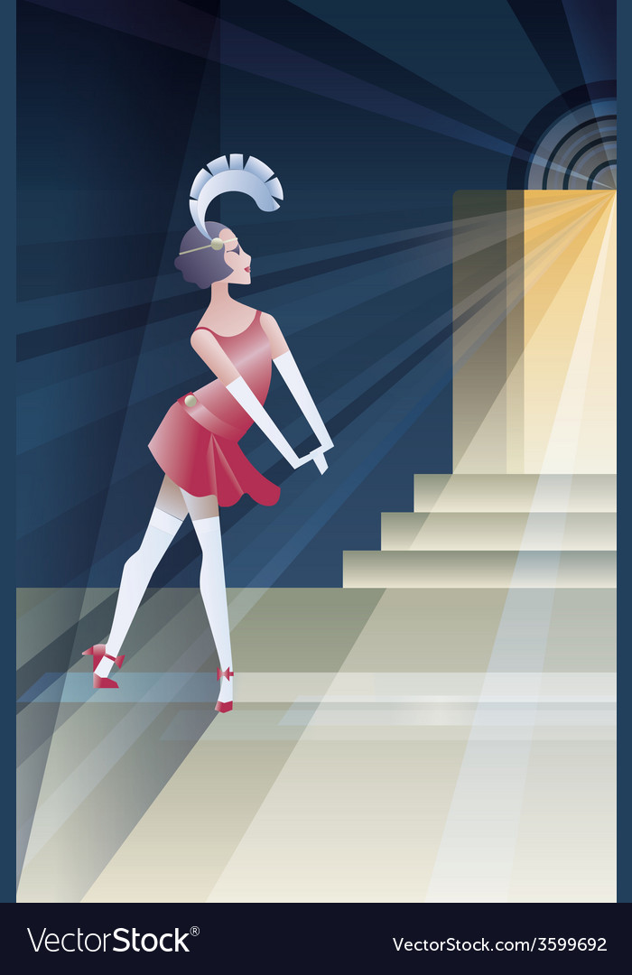 Roaring 20s poster with flappers near club night vector