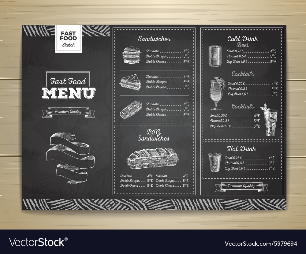 Vintage chalk drawing fast food menu sandwich vector