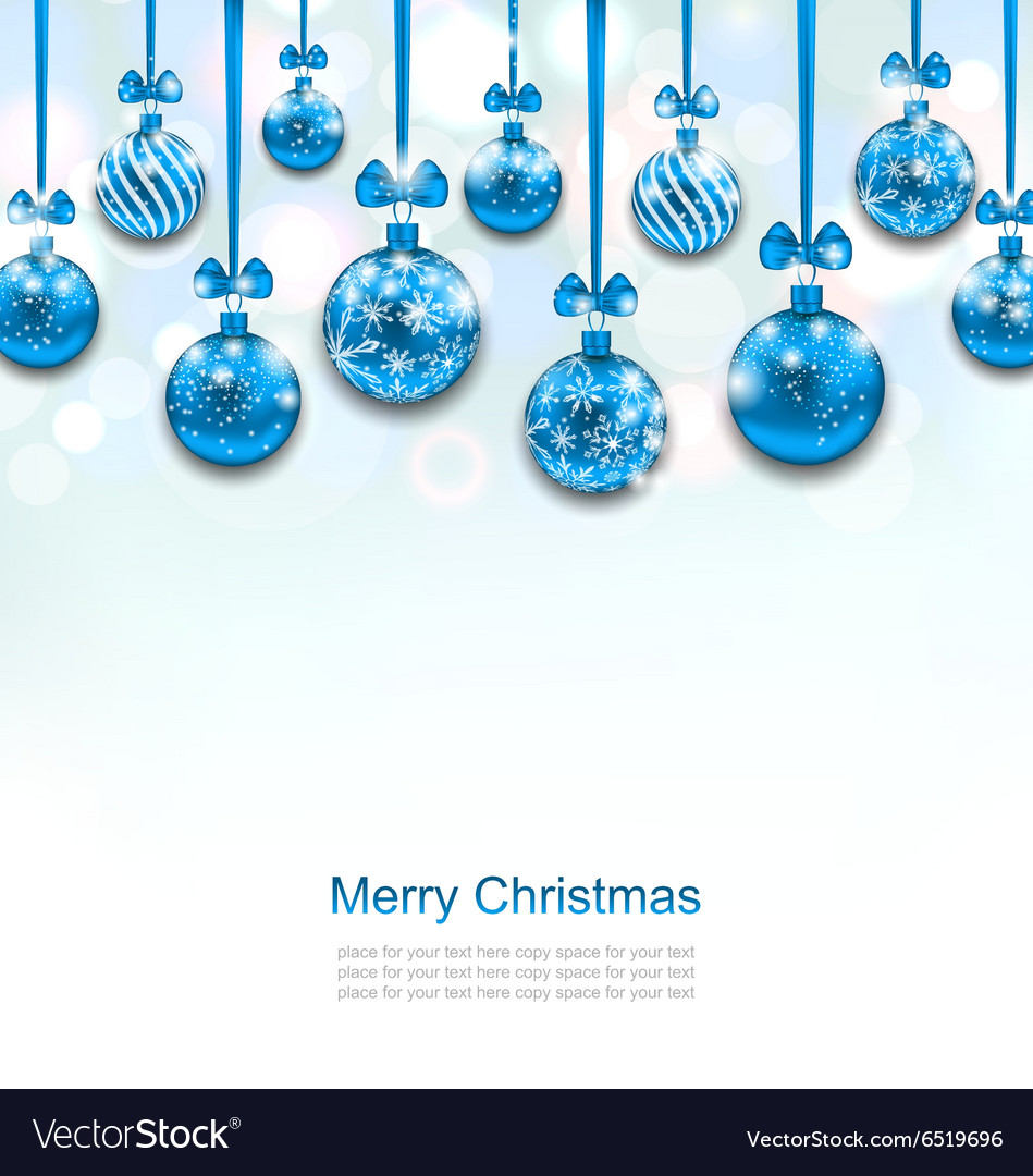 Christmas blue glassy balls with bow ribbon vector