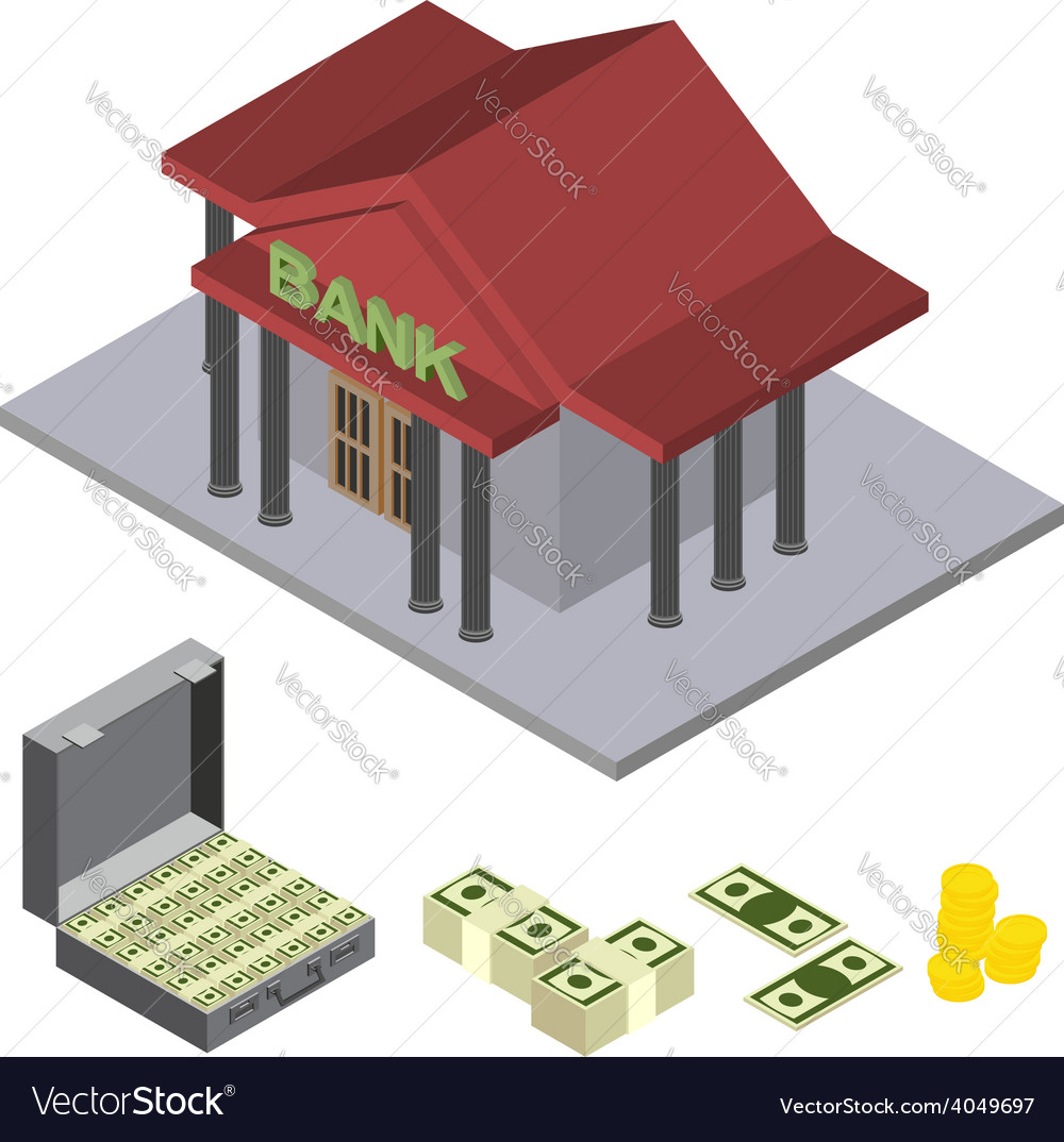 Bank isometric icons vector