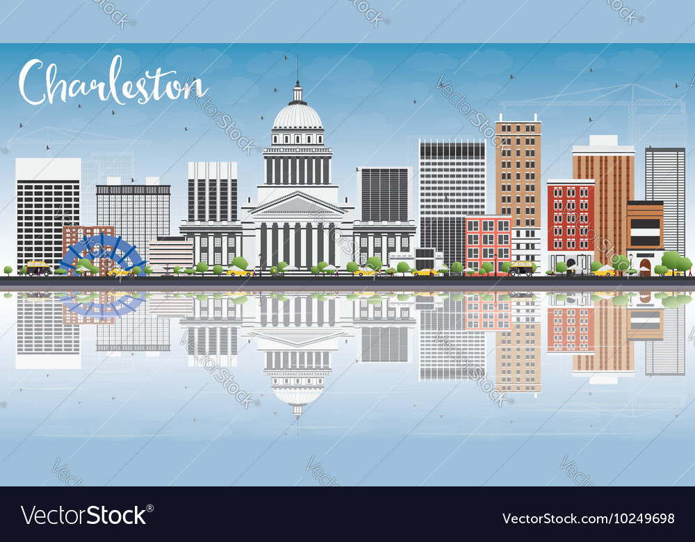 Charleston skyline with gray buildings vector