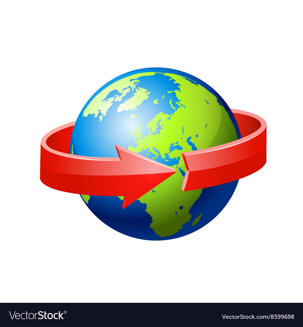 Earth with red arrow circle around vector