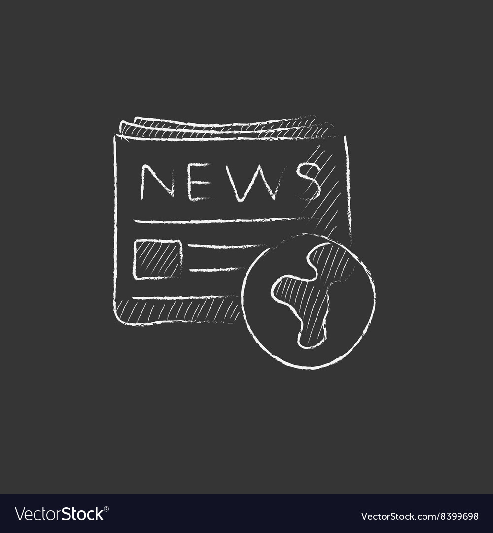 International newspaper drawn in chalk icon vector