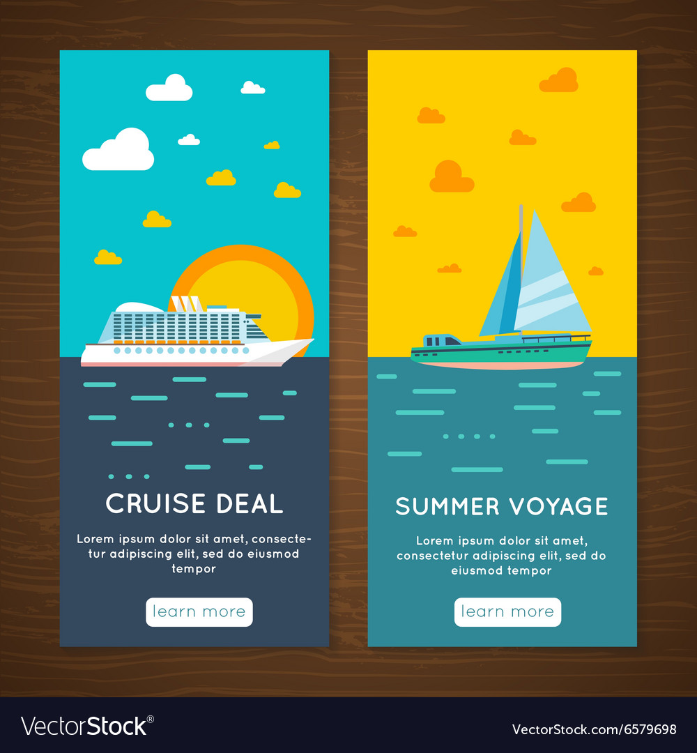 Sea cruise 2 vertical banners set vector