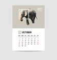 2017 October calendar elephant polygon vector image
