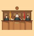 isometric people judicial system set with three vector image