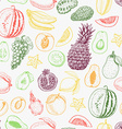 Seamless pattern with colored fruits on white vector image