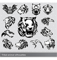 tribal animal silhouettes set vector image vector image