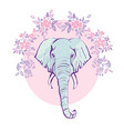 cute elephant with a flower cartoon hand drawn vector image