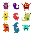 Doodle monsters set Colorful toy cute alien vector image