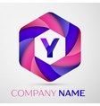 Y Letter colorful logo in the hexagonal on grey vector image