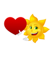 smiling sun with big heart vector image