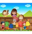 Children doing laundry vector image vector image