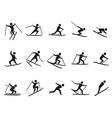 black skiing stick figure icons set vector image