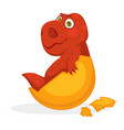bright red baby dinosaur inside yellow egg shell vector image
