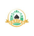 casino or poker club logo vintage gambling badge vector image