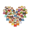 Heart shape with children vector image