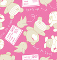 Lots of love bear and bird seamless pattern vector image