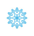 silhouette blue snowflake on white background vector image
