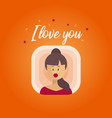 the girl sends a kiss valentines day vector image