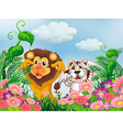 A garden with a lion and a tiger vector image vector image