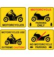 motorcycle set of road sign vector image vector image