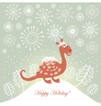 snowy cute dragon for greeting card vector image vector image