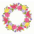 Invitation card with floral round wreath vector image