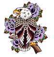eagle tattoo with rose vector image vector image