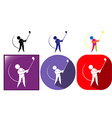 Sport icon for golf in three designs vector image
