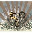 Biker with grunge vector image