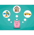 Cartoon pink piggy bank dreaming about holidays vector image