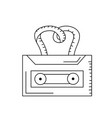 line cassette to listen and play music vector image