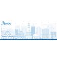 Outline Izmir Skyline with Blue Buildings vector image