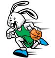 rabbit play basketball vector image