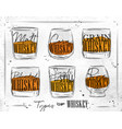 poster types whiskey paper vector image vector image