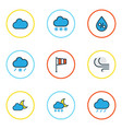 weather colored outlines set collection of vector image
