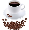 black coffee in white cup and grains vector image