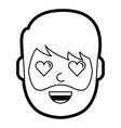 man character in love emotion with hearts as eyes vector image