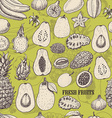 Seamless pattern with tropical fruits on light vector image