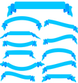Set blue ribbons and banners vector image