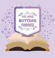 we are greeting married bible and purple hearts vector image