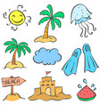 summer holiday object of doodle vector image
